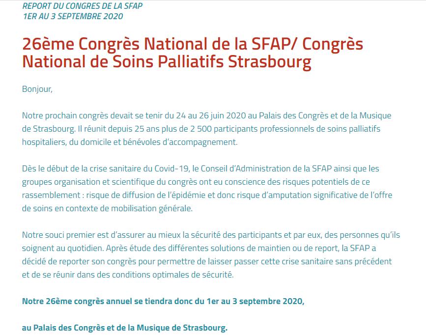 Changement date Congrès Sfap Strasbourg